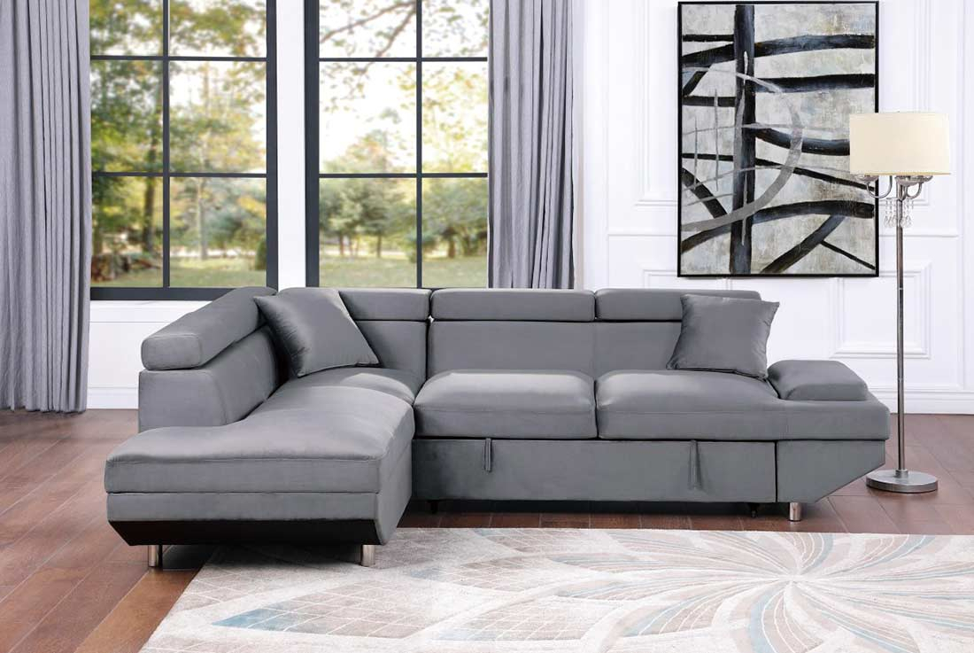 Grey Velvet Sectional Sofa Bed He Cruise   Sofa Beds Intended For Noa Sectional Sofas With Ottoman Gray (View 4 of 15)