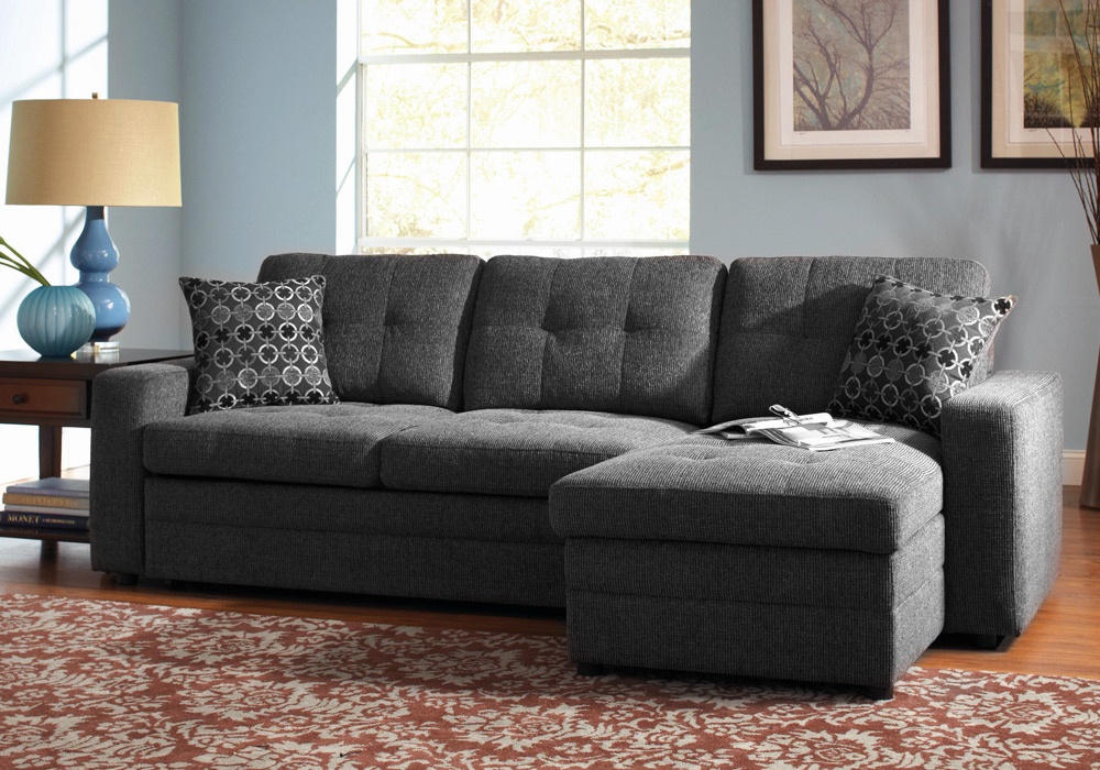 Gus Sectional Sofa W/ Pull Out Bed Storage Chaise Charcoal Intended For Hugo Chenille Upholstered Storage Sectional Futon Sofas (View 2 of 15)