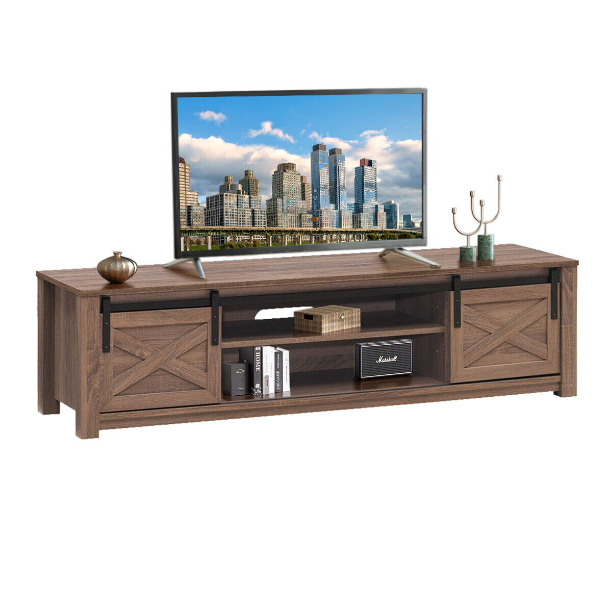 """Gymax Sliding Barn Door Tv Stand For Tv's Up To 65 Regarding Grenier Tv Stands For Tvs Up To 65"""" (View 5 of 15)"""