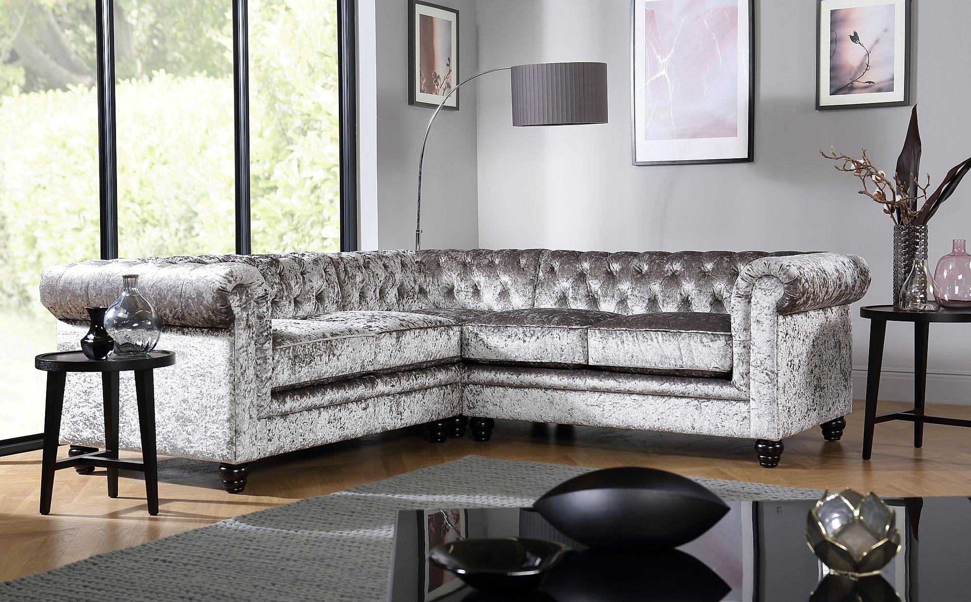 Hampton Silver Crushed Velvet Chesterfield Corner Sofa Regarding French Seamed Sectional Sofas In Velvet (View 1 of 15)