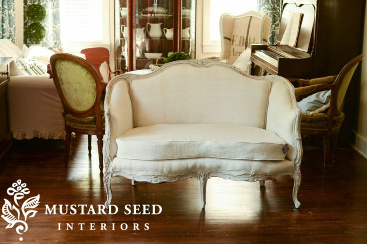 Happy Ending & French Settee Makeover | Miss Mustard Seed Pertaining To French Seamed Sectional Sofas Oblong Mustard (View 1 of 15)