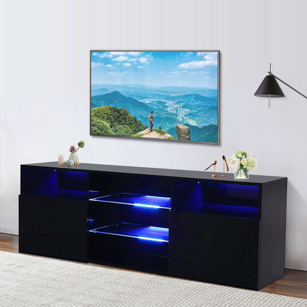 High Gloss Black Led Tv Stand Unit 2 Doors 2 Shelves With Polar Led Tv Stands (View 9 of 15)