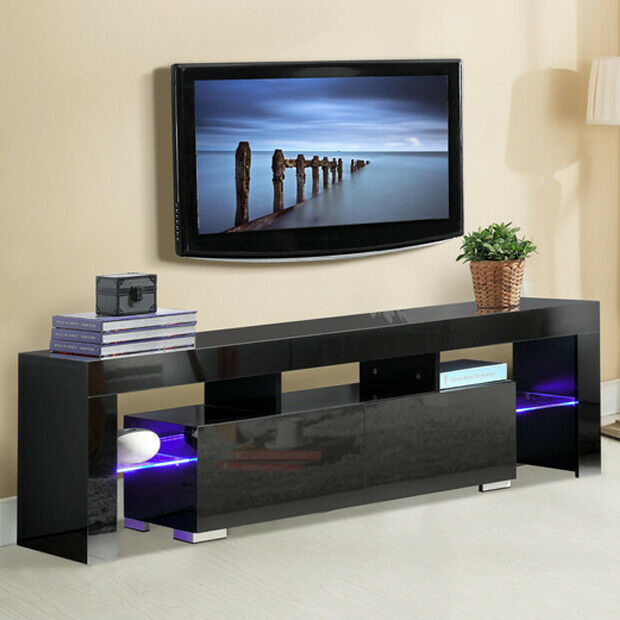 High Gloss Black Tv Stand Unit Cabinet 2 Drawers Console Within Long Black Gloss Tv Unit (View 8 of 15)