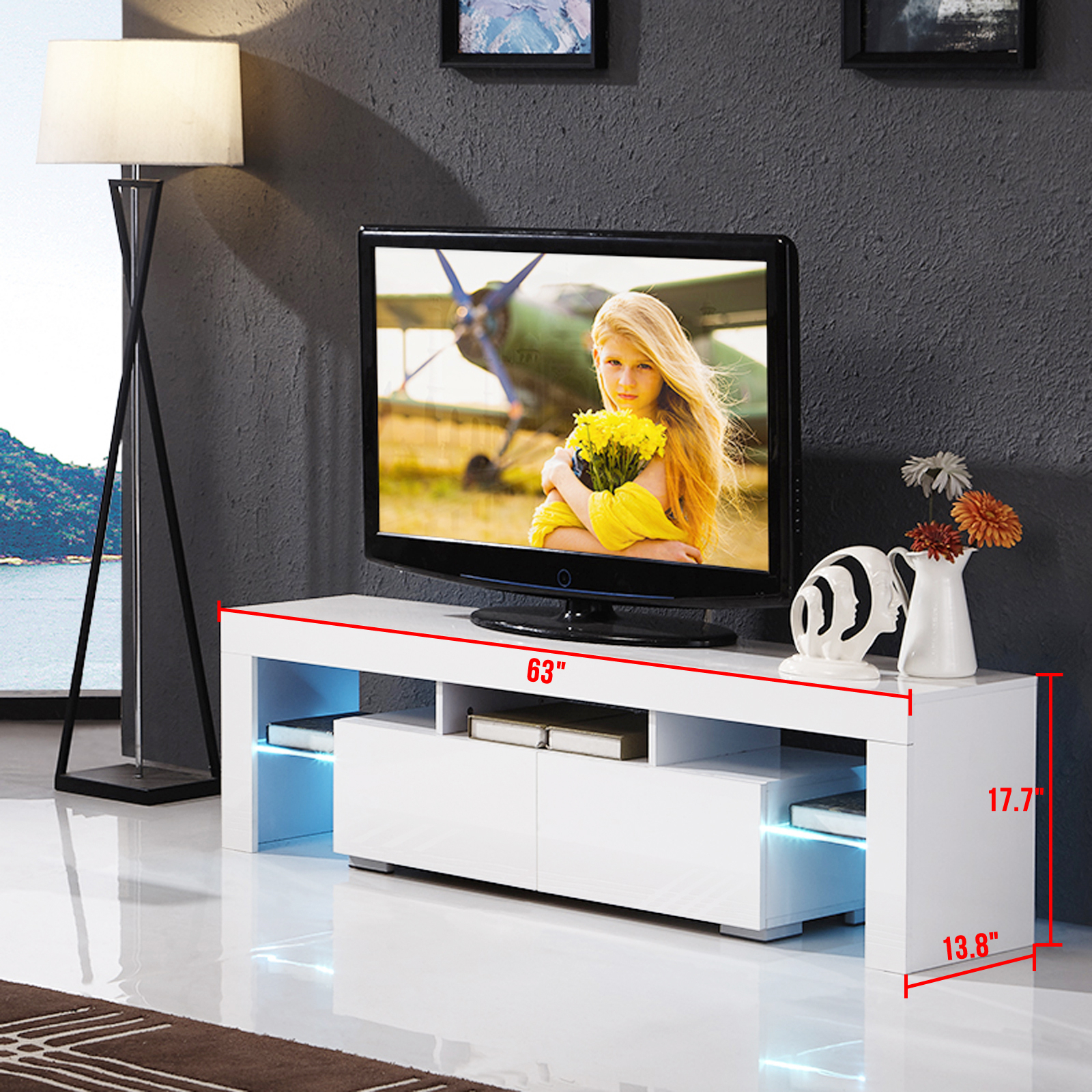 High Gloss White Tv Stand Unit Cabinet W/led Shelves 2 With Tv Stands With 2 Open Shelves 2 Drawers High Gloss Tv Unis (View 1 of 15)