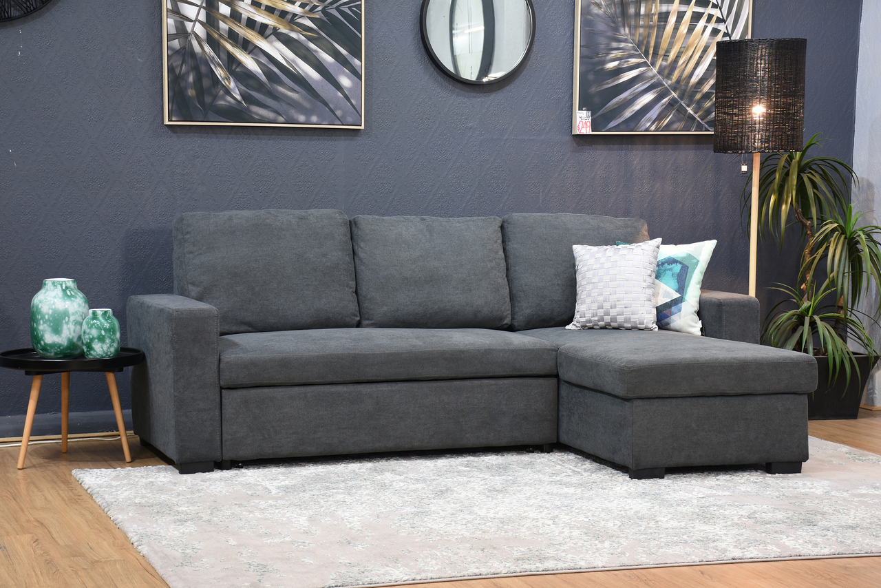Hugo Storage Chaise Lounge With Pull Out Sofa Bed Dark With Regard To Hugo Chenille Upholstered Storage Sectional Futon Sofas (View 8 of 15)