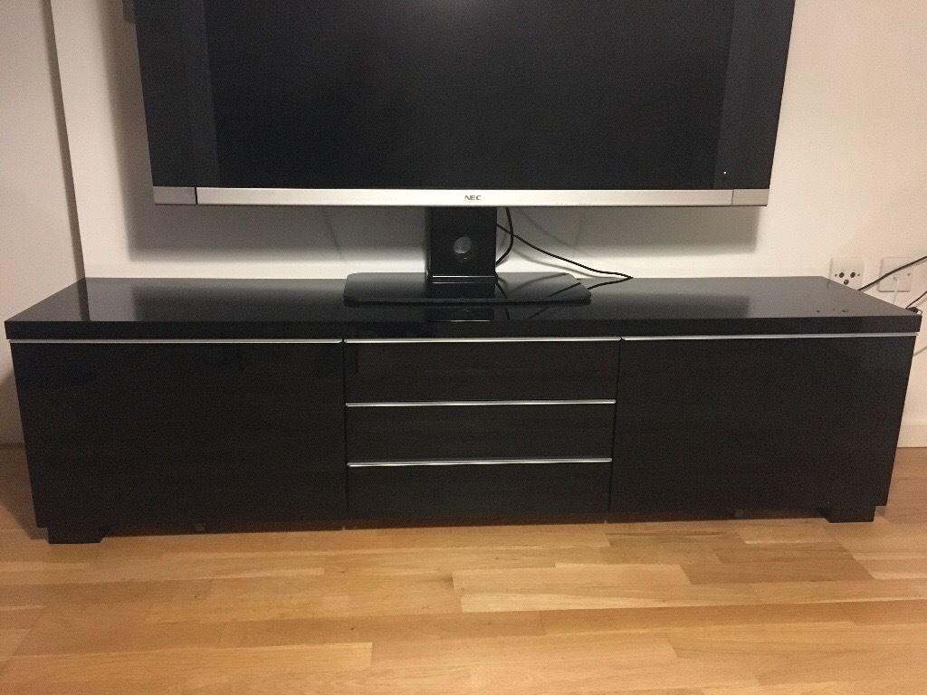 Ikea Besta Burs Black Gloss Tv Unit, Fantastic Condition In Black Gloss Tv Bench (View 5 of 15)