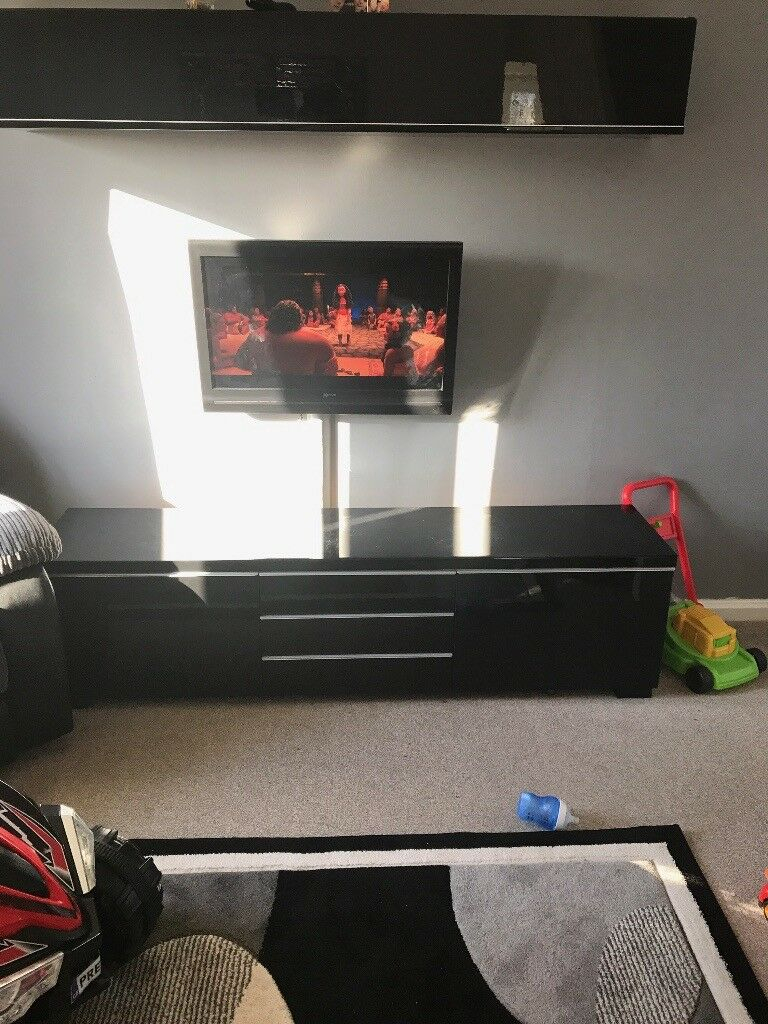 Ikea Besta Combination Black Gloss Tv Unit/stand And Pertaining To Black Gloss Tv Bench (View 8 of 15)