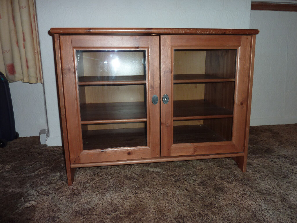 Ikea Leksvik Solid Pine Tv Cabinet With Glass Doors   In Regarding Tv Cabinets With Glass Doors (View 14 of 15)
