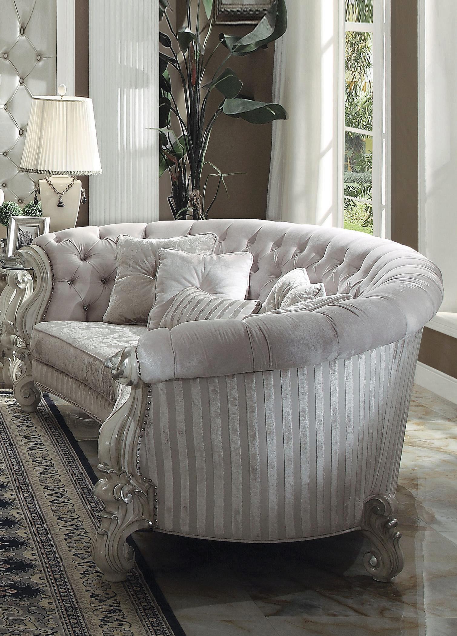 "Ivory Velvet Antique White Levon Curved 55"" Crystal Tufted In French Seamed Sectional Sofas In Velvet (View 14 of 15)"