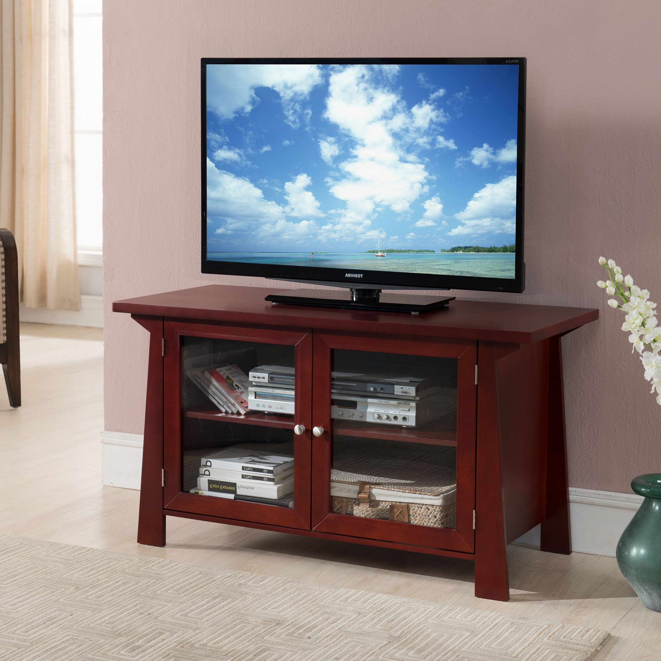 """Izabella 42"""" Cherry Wood Transitional Entertainment Center Within Tv Cabinets With Glass Doors (View 3 of 15)"""