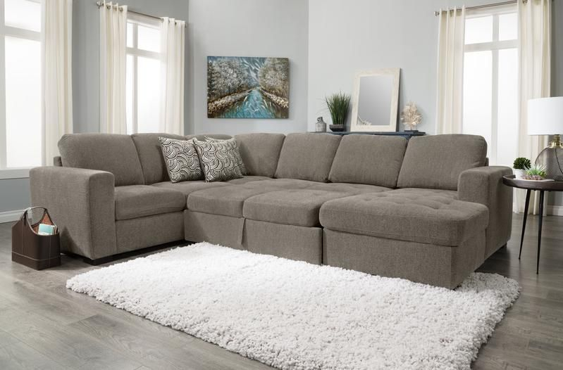 Izzy 3 Piece Chenille Right Facing Sleeper Sectional With Within Hugo Chenille Upholstered Storage Sectional Futon Sofas (View 1 of 15)