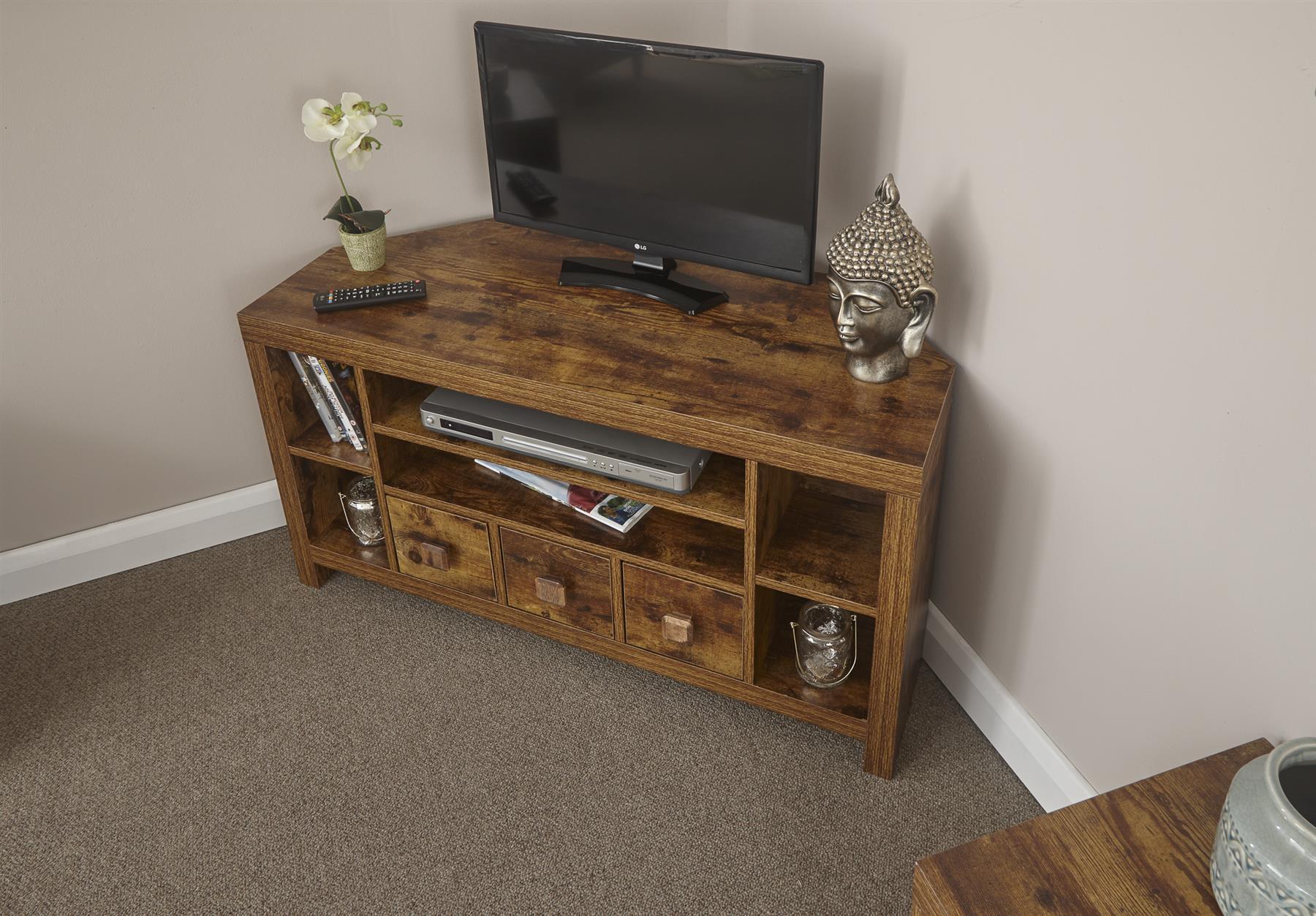 Jakarta Mango Dark Wood Corner Tv Stand 3 Drawer Cabinet For Jakarta Tv Stands (View 11 of 15)