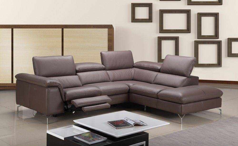 J&m Anastasia Modern Premium Brown Leather Sectional Sofa For Hannah Right Sectional Sofas (View 1 of 15)