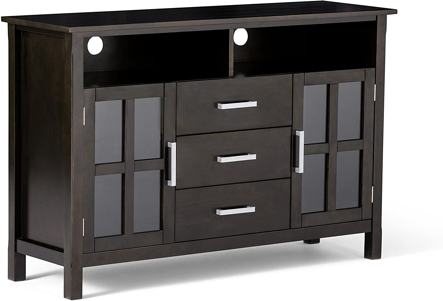 Kitchener Solid Wood Universal Tall Tv Media Stand, 53 In Tv Cabinets With Glass Doors (View 7 of 15)