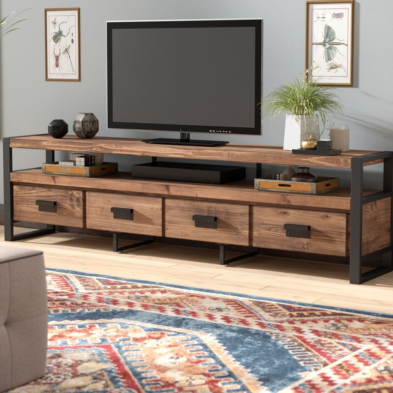 """Kylee Solid Wood Tv Stand For Tvs Up To 88 Inches Intended For Baba Tv Stands For Tvs Up To 55"""" (View 12 of 15)"""