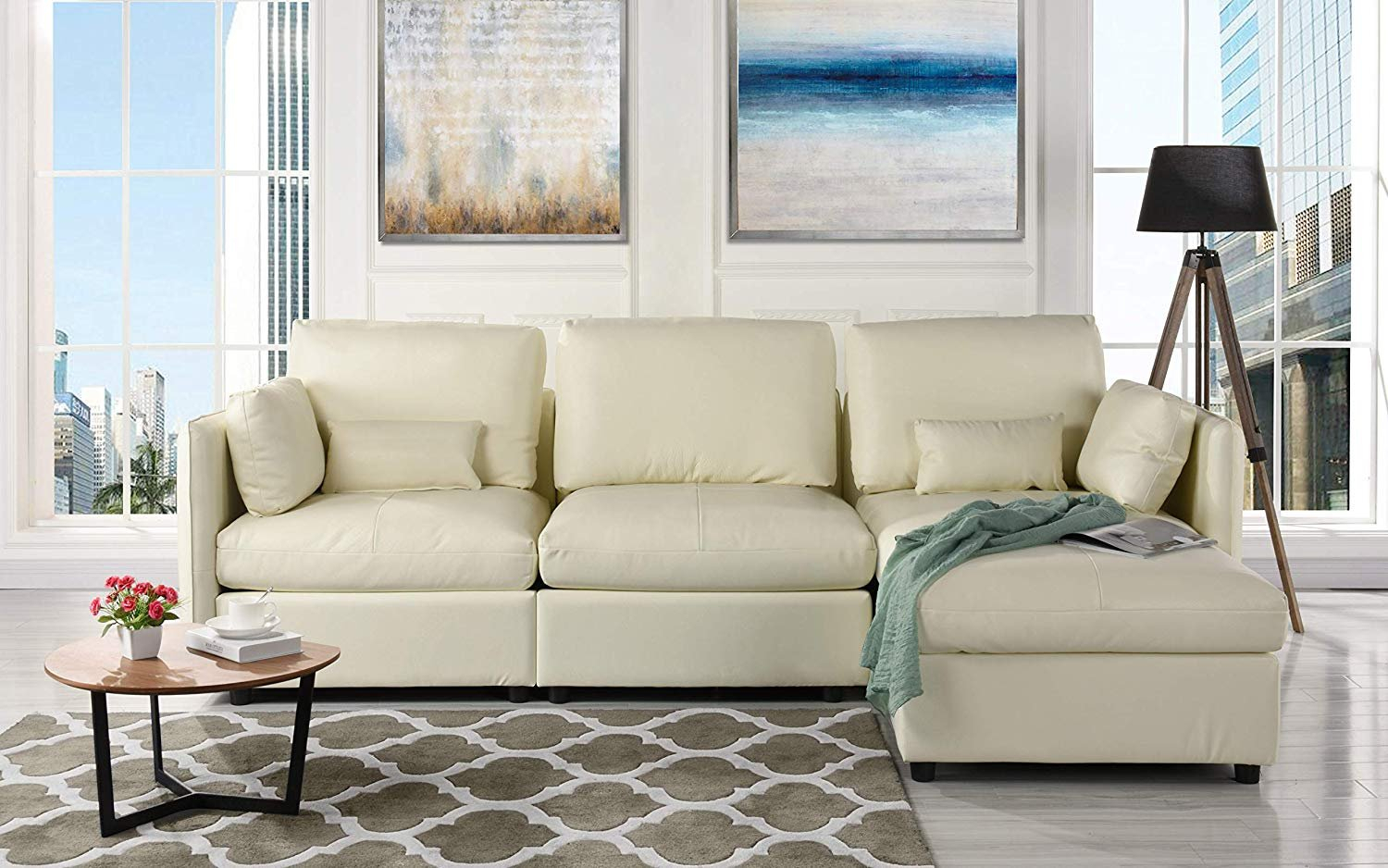 L Shape Living Room Leather Match Sectional Sofa, Right Pertaining To Hannah Right Sectional Sofas (View 11 of 15)