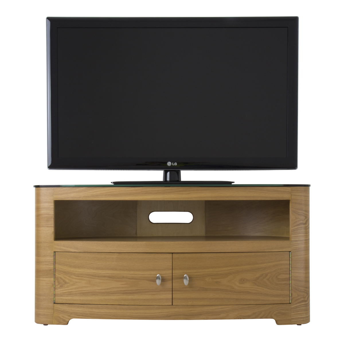 Large Oak Veneer Oval Lcd Plasma Tv Stand Cabinet 42+ Inch Inside Oval Tv Unit (View 8 of 15)
