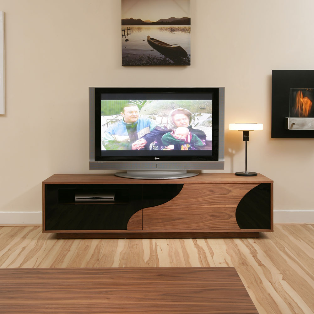 Large Tv Stand/stands/cabinet Walnut / Black Gloss  (View 4 of 15)