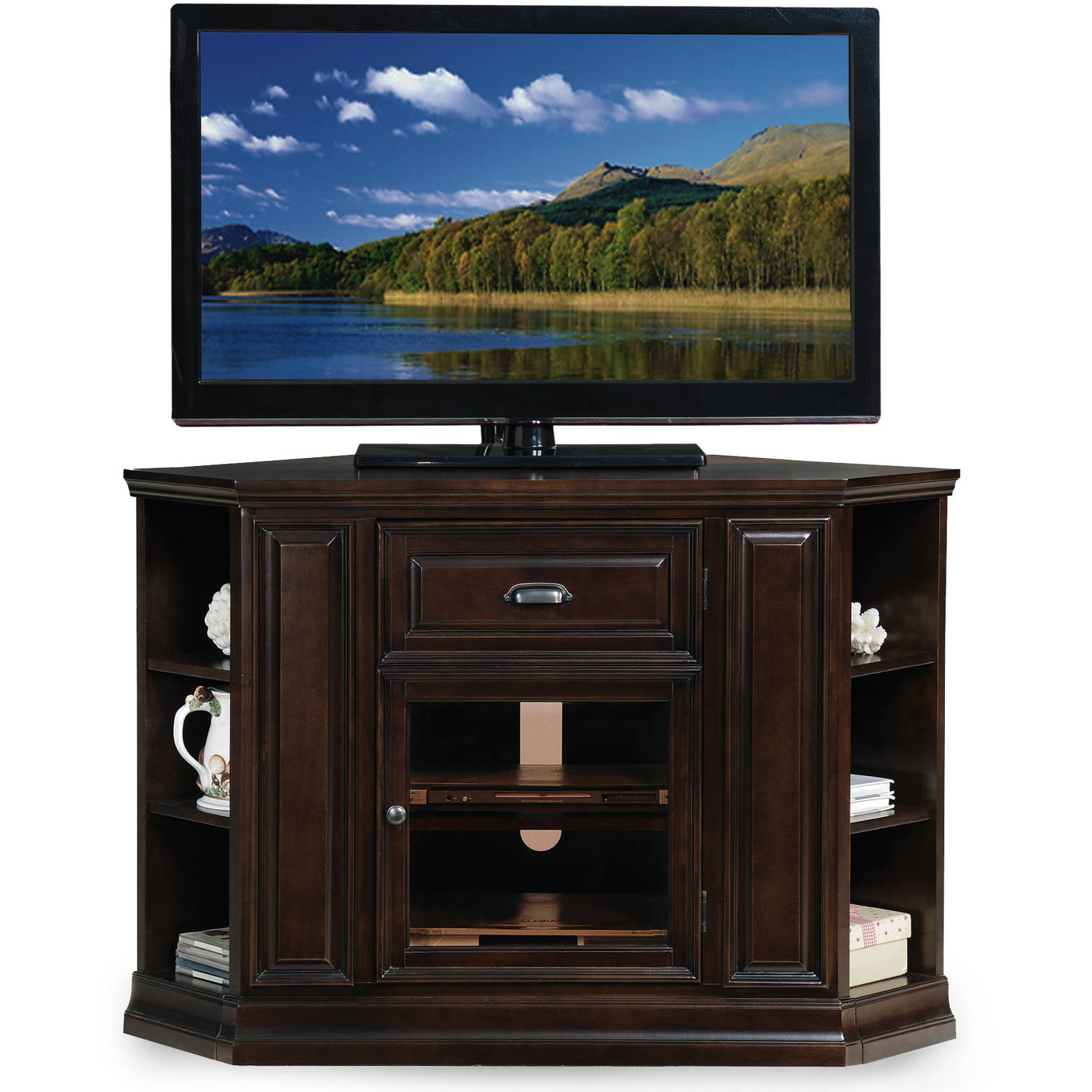 """Leick Home 32"""" High Corner Tv Stand W/bookcase For Tv's Up With Paulina Tv Stands For Tvs Up To 32"""" (View 14 of 15)"""