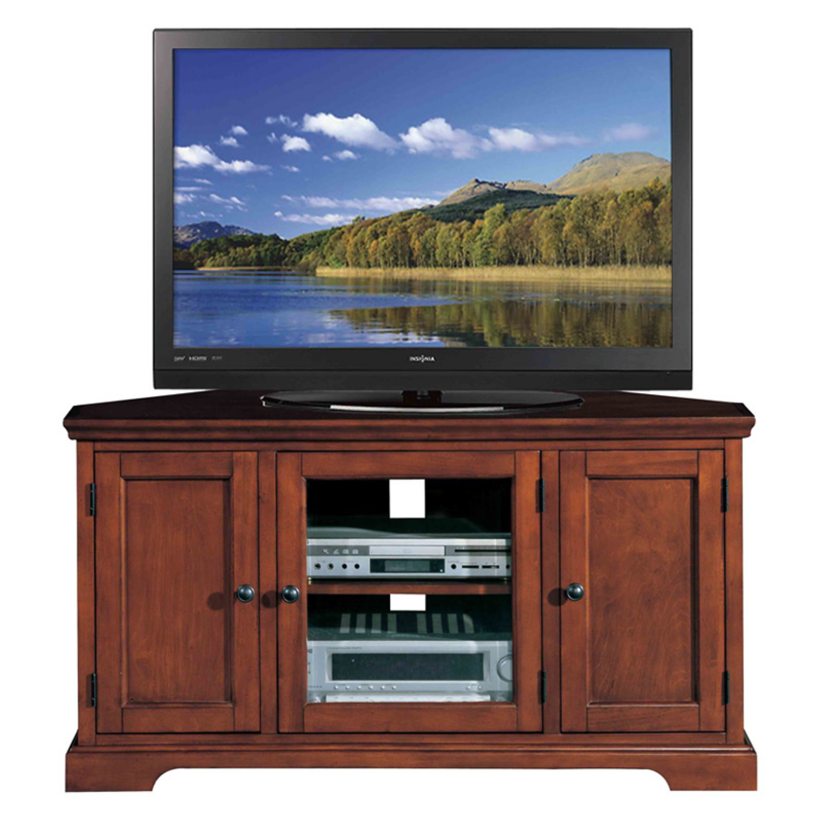 """Leick Home Westwood 46"""" Corner Tv Stand W/storage For Tv's With Regard To Colleen Tv Stands For Tvs Up To 50"""" (View 5 of 15)"""