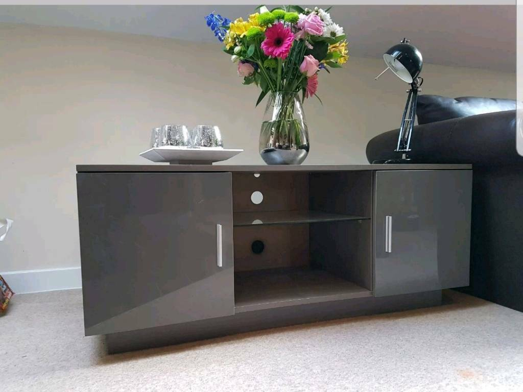 Lima High Gloss Grey Tv Stand Cabinet Entertainment Unit Throughout High Gloss Tv Cabinet (View 8 of 15)