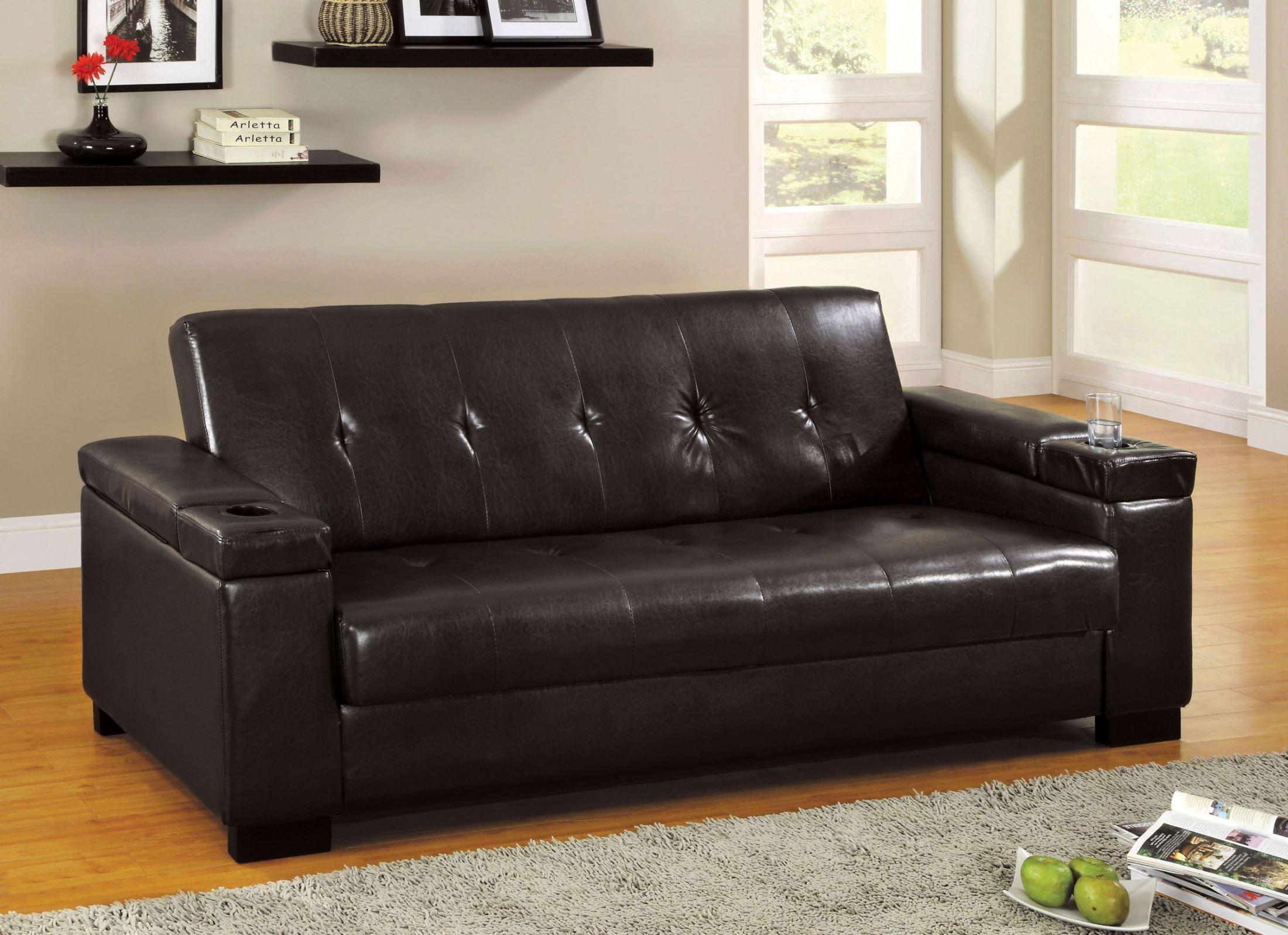 Logan Leatherette Futon Storage Sofa From Furniture Of In Hartford Storage Sectional Futon Sofas (View 3 of 15)