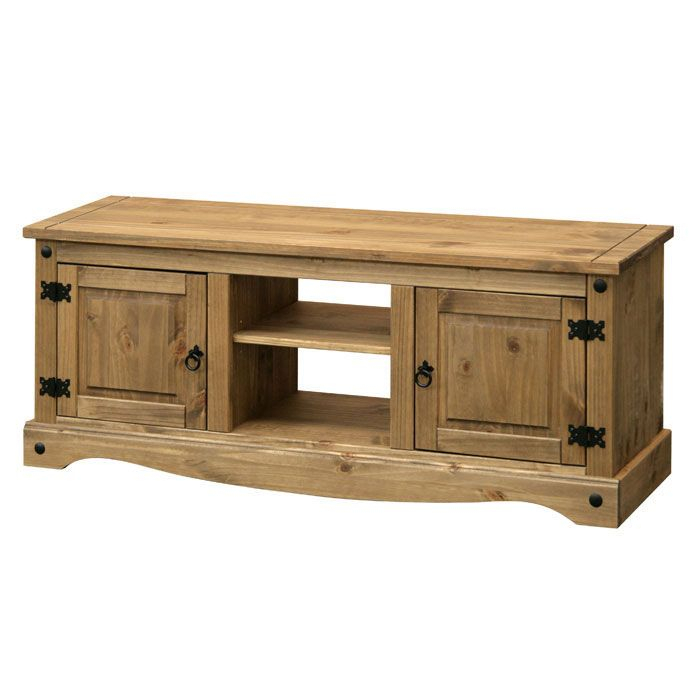 Long Tv Unit In Traditional Pine With Black Steel Intended For Corona Pine 2 Door 1 Shelf Flat Screen Tv Unit Stands (View 2 of 15)