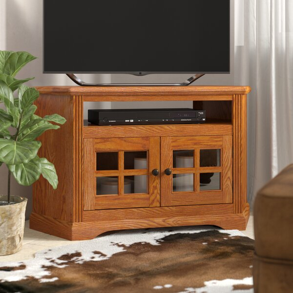 """Loon Peak® Glastonbury Solid Wood Corner Tv Stand For Tvs Regarding Baba Tv Stands For Tvs Up To 55"""" (View 1 of 15)"""