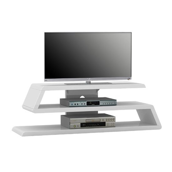 Louisiana White High Gloss Finish Plasma Tv Stand 22907 Regarding White Gloss Oval Tv Stands (View 6 of 15)