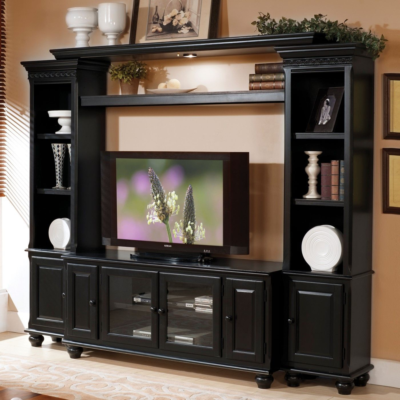 Luella Transitional Tv Stand With Glass Doors & Framed Throughout Tv Cabinets With Glass Doors (View 1 of 15)
