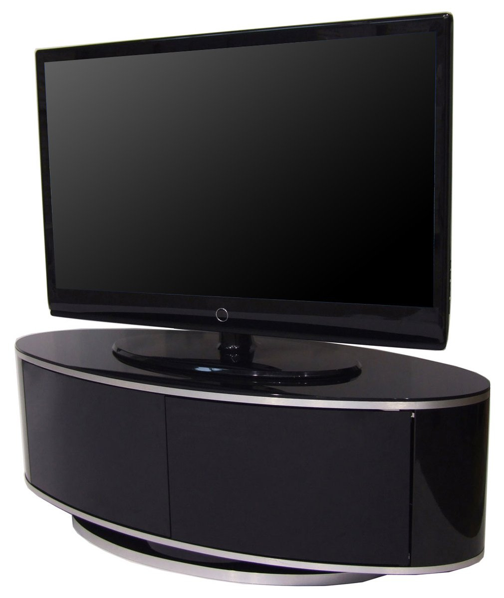 Luna High Gloss Black Oval Tv Cabinet • Patio Ideas Pertaining To Oval Tv Unit (View 1 of 15)