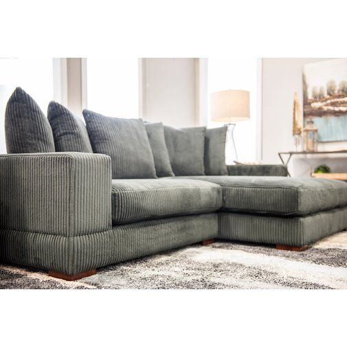 """Luxe 107"""" Wide Right Hand Facing Sofa & Chaise   Deep Regarding Hannah Right Sectional Sofas (View 5 of 15)"""