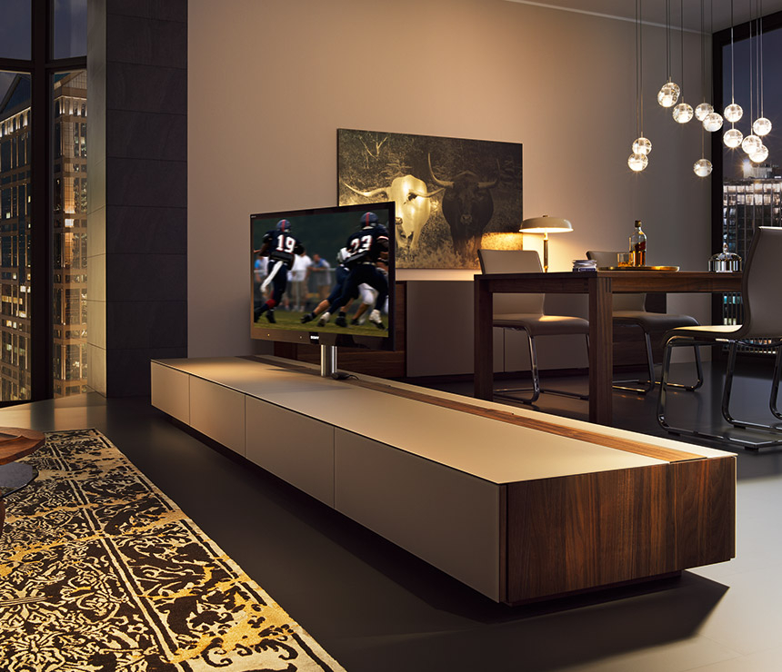 Luxury Rotating Flat Screen Tv Cabinet – Cubus – Wharfside Pertaining To Tv Stands Cabinets (View 14 of 15)
