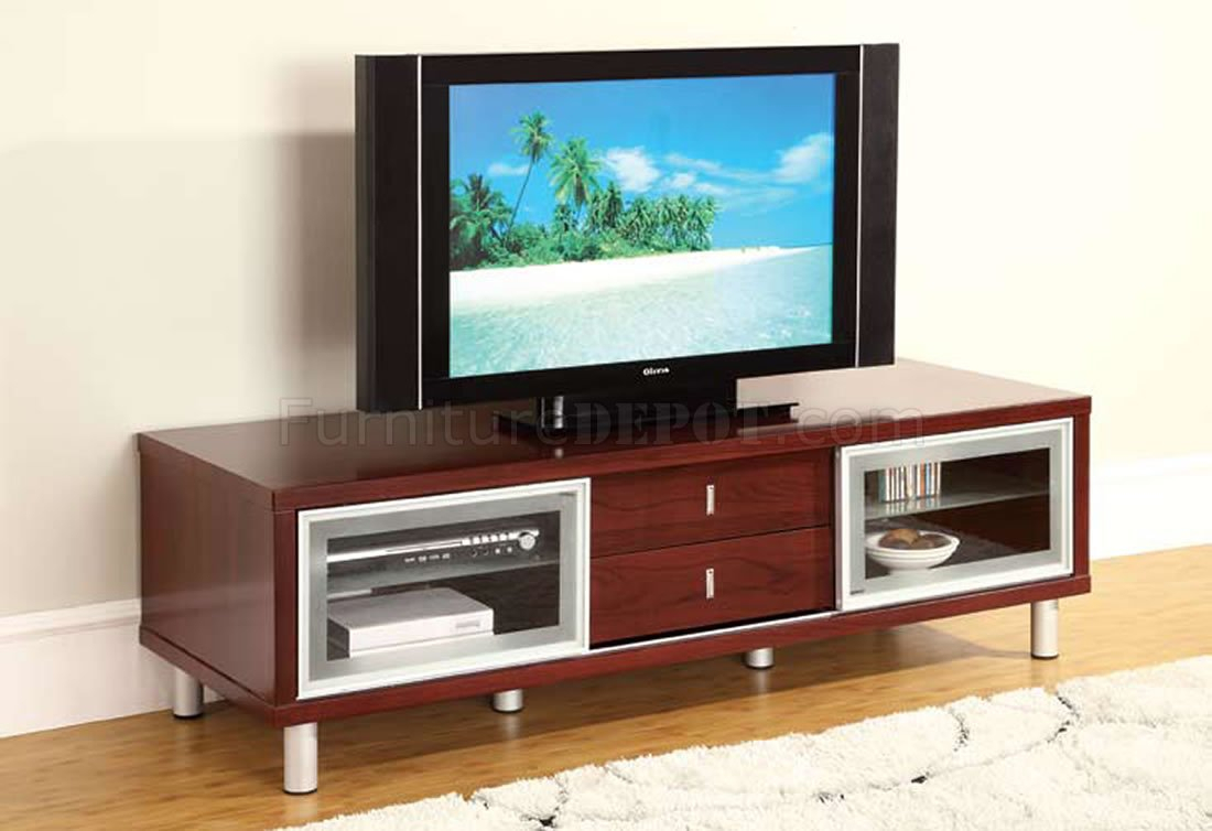 Mahogany Finish Contemporary Tv Stand With Cabinets With Regard To Tv Stands Cabinets (View 7 of 15)