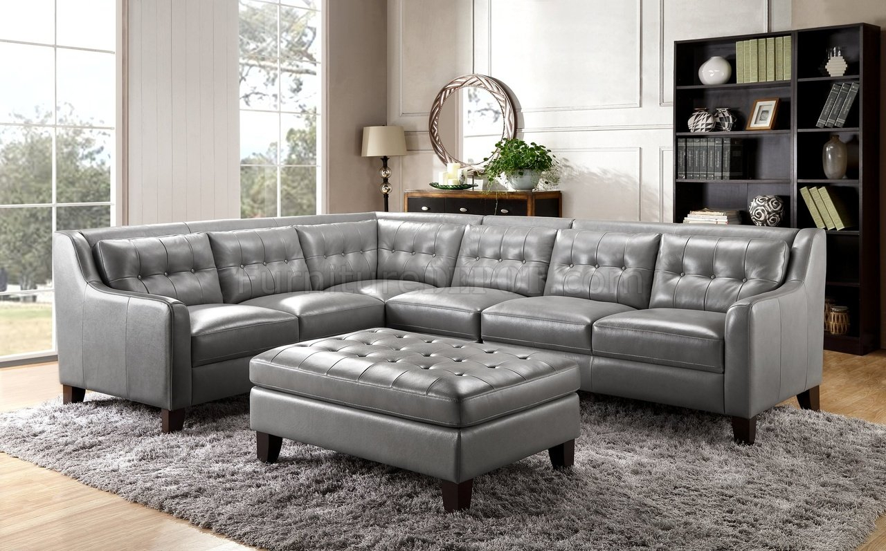 Malibu Sectional Sofa In Greyleather Italia W/options Pertaining To Noa Sectional Sofas With Ottoman Gray (View 1 of 15)