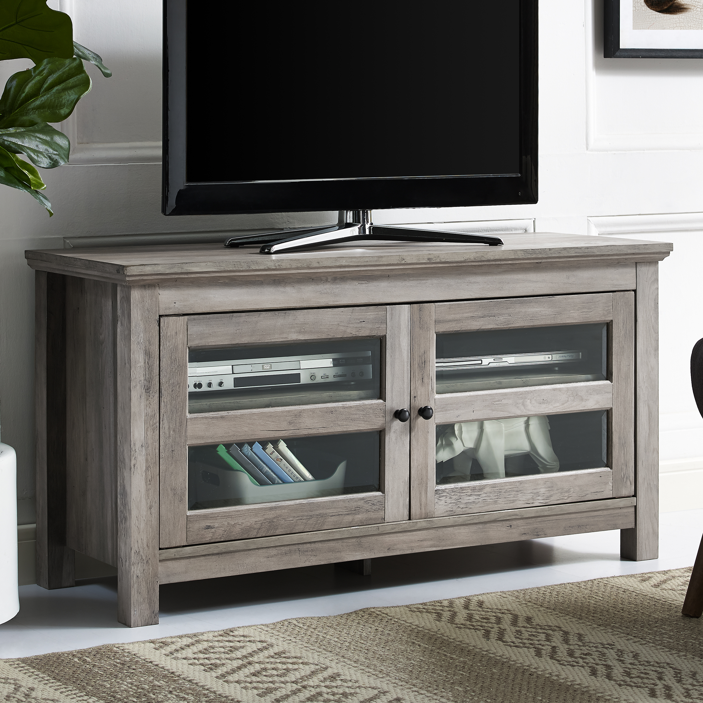 """Manor Park 44"""" Wood Tv Media Stand Storage Console – Grey Within Slim Tv Stands (View 3 of 15)"""