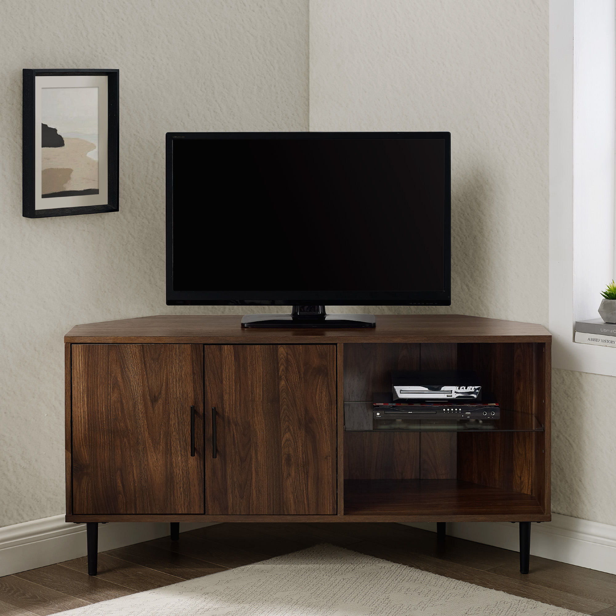 """Manor Park Basie 2 Door Corner Tv Stand For Tvs Up To 55 Within Baba Tv Stands For Tvs Up To 55"""" (View 8 of 15)"""