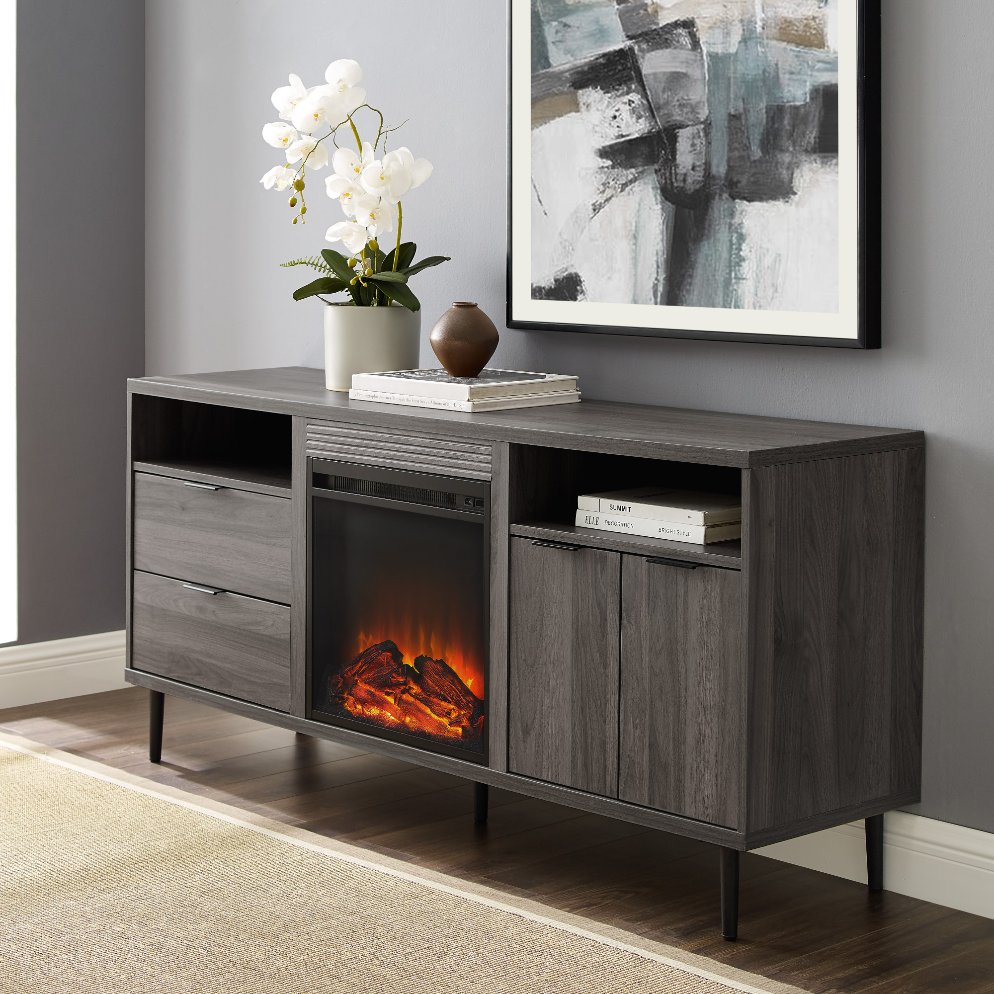 Manor Park Modern Fireplace Tv Stand For Tvs Up To 66 Inside Baby Proof Contemporary Tv Cabinets (View 3 of 15)