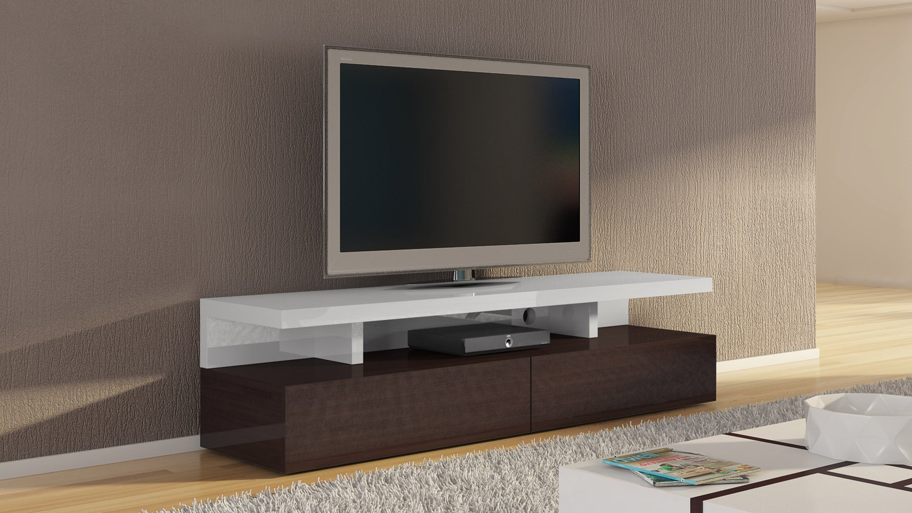 Mcintosh 71 Inch Tv Stand In White High Gloss And Ebony With Regard To Tv Stands With 2 Open Shelves 2 Drawers High Gloss Tv Unis (View 3 of 15)
