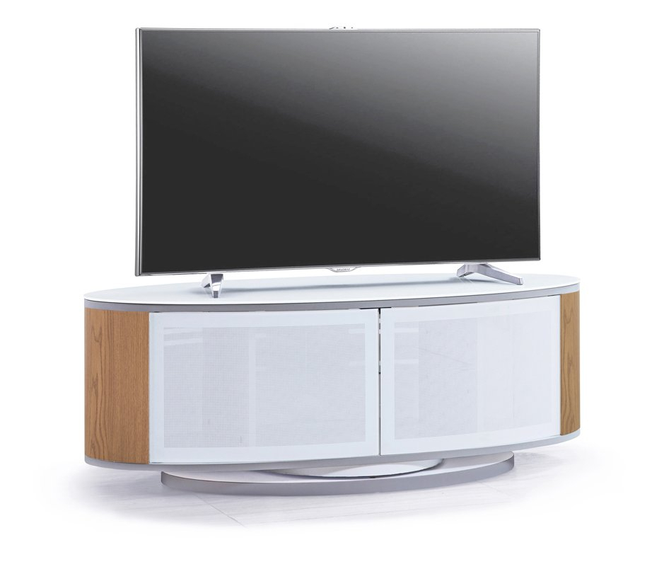 Mda Designs Luna White/oak High Gloss Oval Tv Cabinet Stand Pertaining To Oval Tv Unit (View 3 of 15)