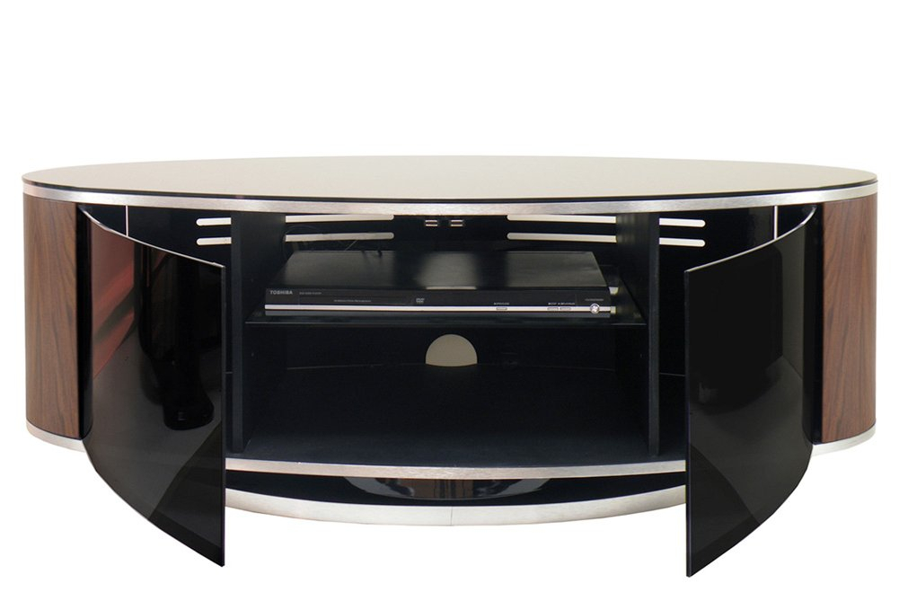Mda Luna High Gloss Black & Walnut Oval Tv Cabinet In White Gloss Oval Tv Stands (View 12 of 15)