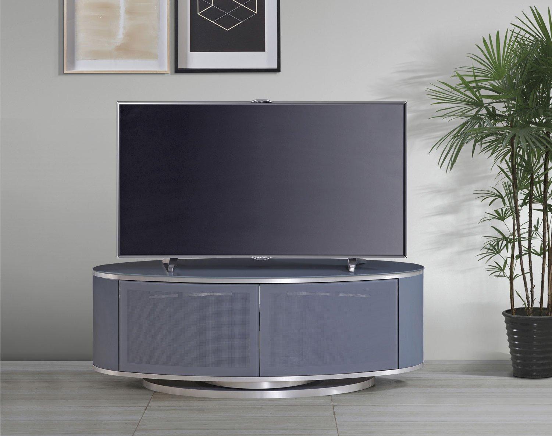 Mda Luna High Gloss Slate Grey Oval Tv Cabinet For Tvs Up Inside Oval Tv Unit (View 5 of 15)