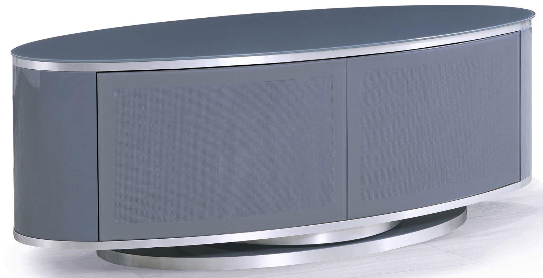 Mda Luna High Gloss Slate Grey Oval Tv Cabinet For Tvs Up Inside Oval Tv Unit (View 9 of 15)