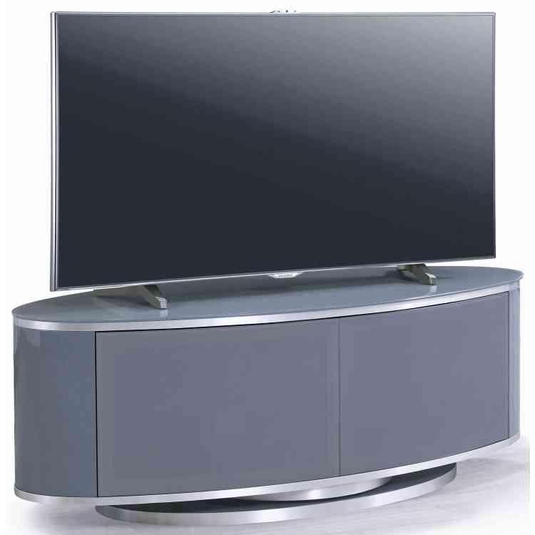 Mda Luna High Gloss Slate Grey Oval Tv Cabinet For Tvs Up Inside Oval Tv Unit (View 4 of 15)