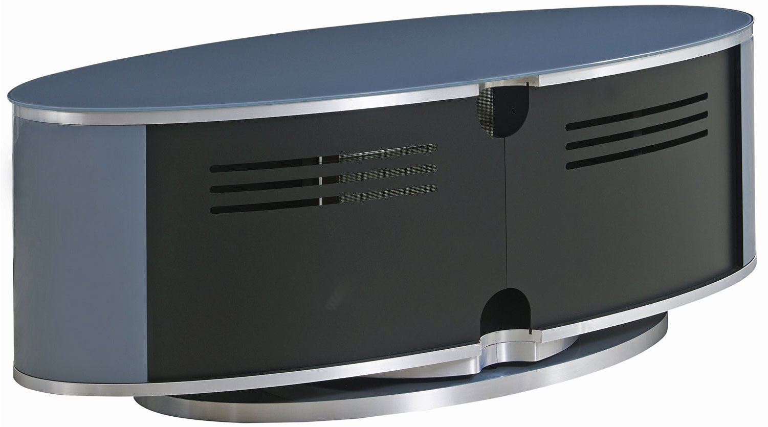 Mda Luna High Gloss Slate Grey Oval Tv Cabinet For Tvs Up Intended For Oval Tv Unit (View 11 of 15)