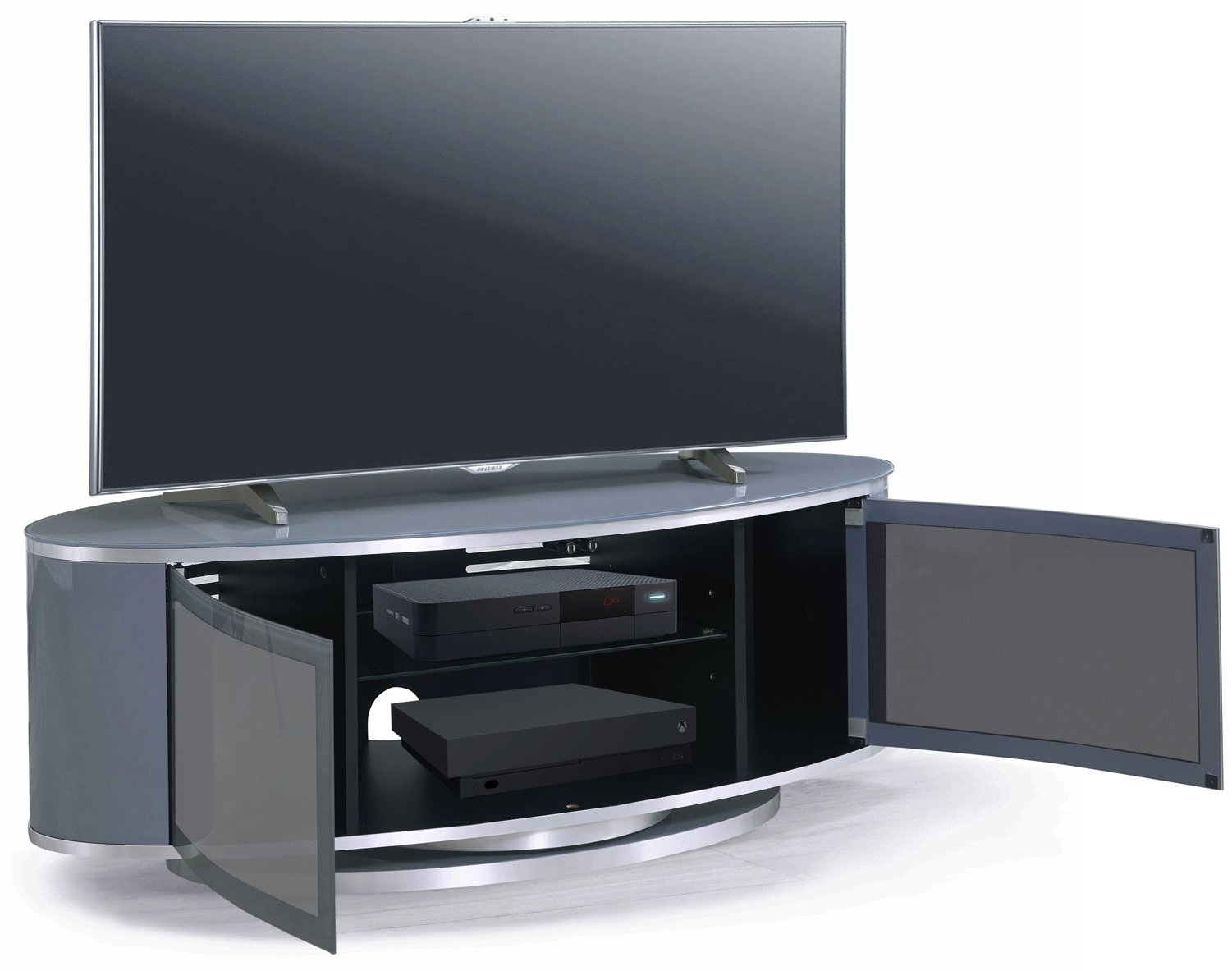 Mda Luna High Gloss Slate Grey Oval Tv Cabinet For Tvs Up With Oval Tv Unit (View 7 of 15)