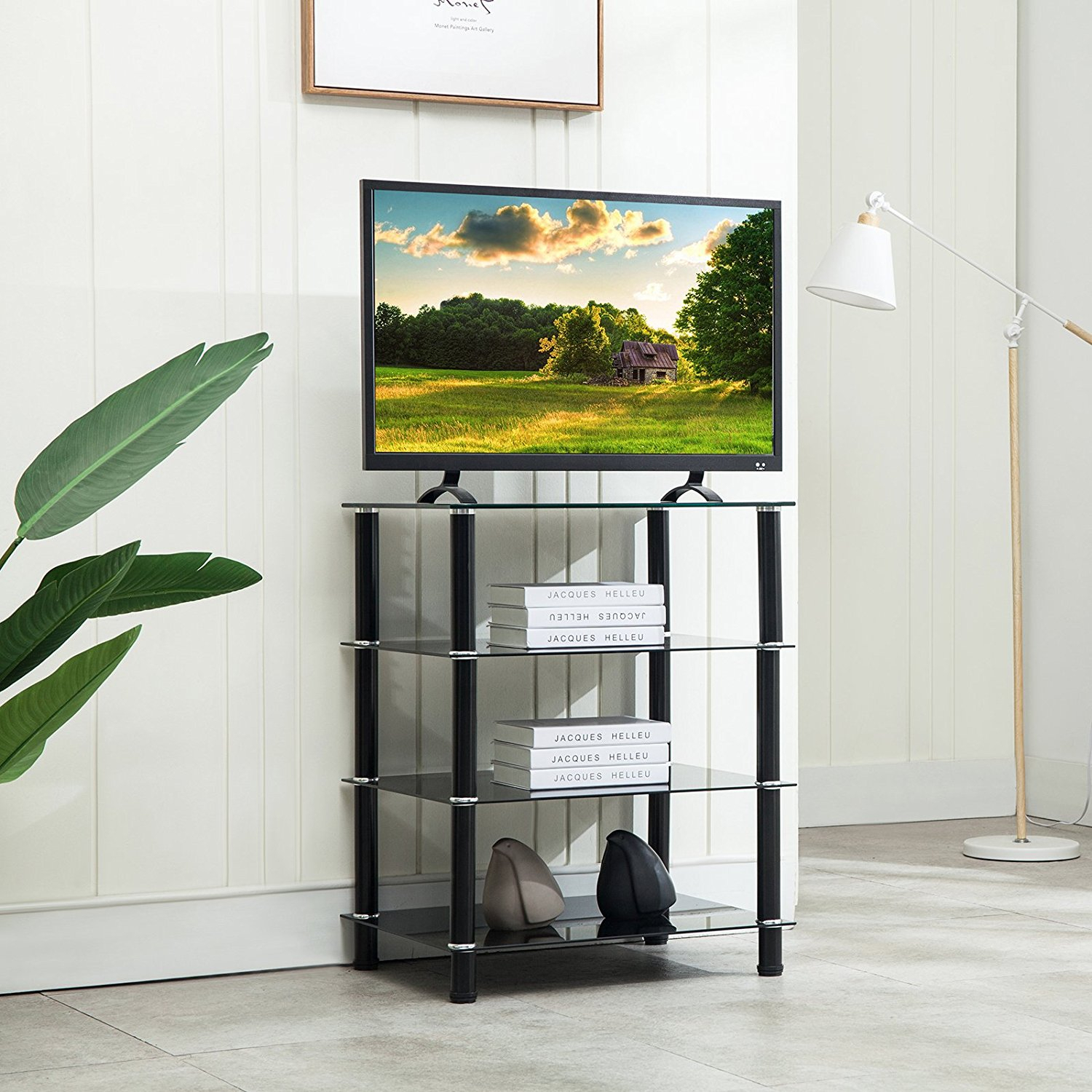 Mecor 4 Tier Media Tv Stand Component Cabinet With Glass In Tier Entertainment Tv Stands In Black (View 11 of 15)