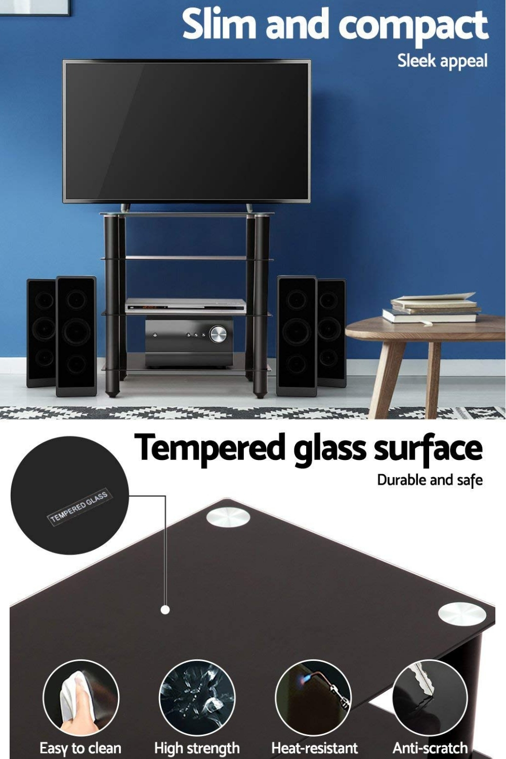 Media Stand Component Shelf 4 Tier Hifi Rack Black Inside Tier Entertainment Tv Stands In Black (View 13 of 15)
