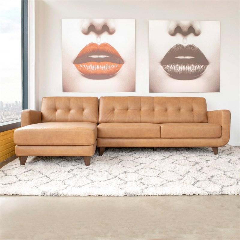 Mid Century Modern Davis Tan Genuine Leather Sectional In Florence Mid Century Modern Left Sectional Sofas (View 7 of 15)