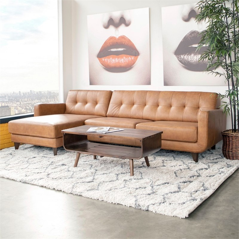 Mid Century Modern Davis Tan Genuine Leather Sectional Pertaining To Florence Mid Century Modern Left Sectional Sofas (View 5 of 15)